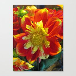 Red Yellow Flower Surprise Canvas Print