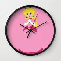 princess peach Wall Clocks featuring Princess Peach - Minimalist #2 by Adrian Mentus