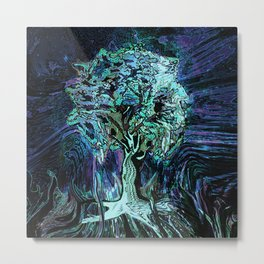 Starry Night Tree of Life Metal Print