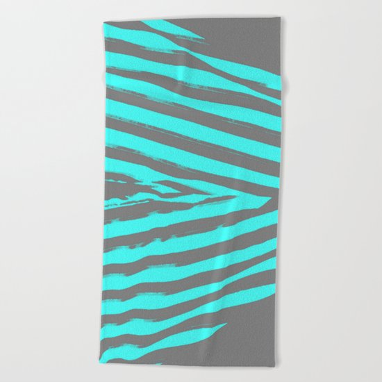 Aqua & Gray Stripes Beach Towel