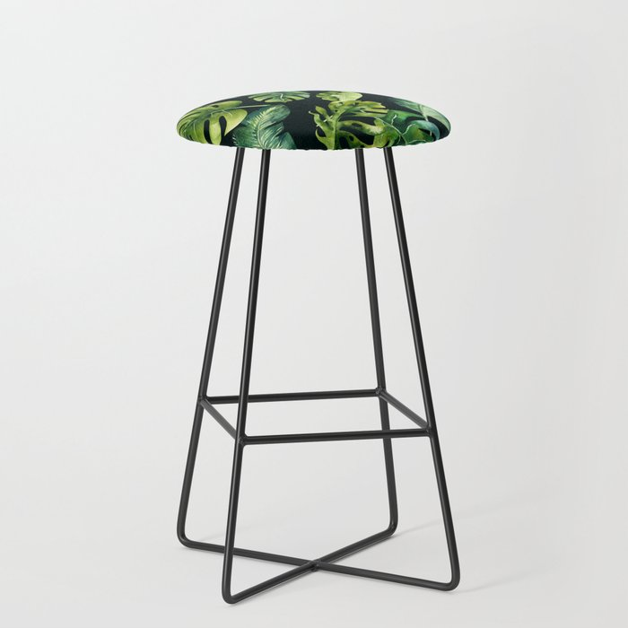 Watercolor Botanical Tropical Palm Leaves on Solid Black Background Bar Stool