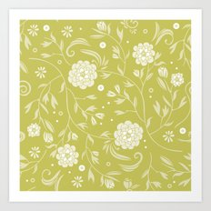 Sunny floral pattern Art Print