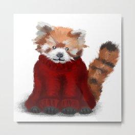 Red Panda in a Jumper Metal Print