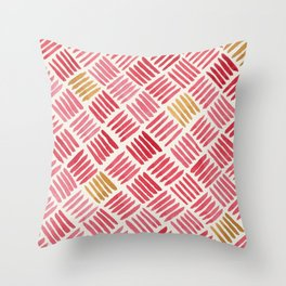Red and Ochre Basketweave Throw Pillow