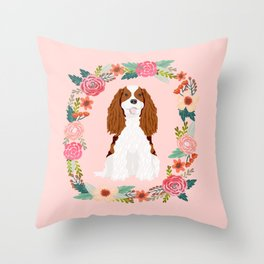 Cavalier king charles spaniel blenheim white dog floral wreath dog gifts pet portraits Throw Pillow