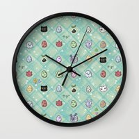 digimon Wall Clocks featuring Nade Nade by Kiriska
