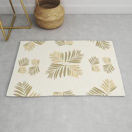 Tropical Gold leaves Home-sweet-home pattern tan metal decor buyart , society6 Rug