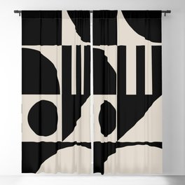 Mid Century Modern Geometric Abstract 936 Black and Linen White Blackout Curtain