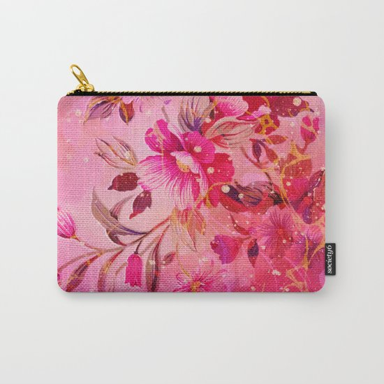 pink floral with white dots Carry-All Pouch