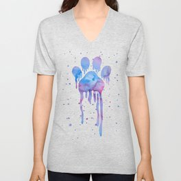 Watercolor Paw Print Unisex V-Neck