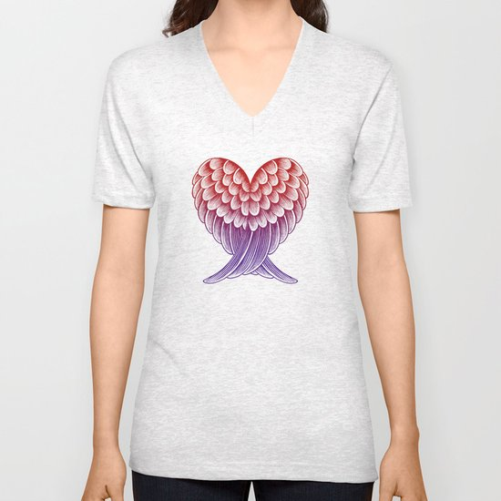 Heart Wings [Pink Version] Unisex V-Neck