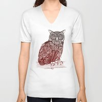 ornate V-neck T-shirts featuring Most Ornate Owl by Rachel Caldwell