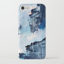 Vibes: an abstract mixed media piece in blues and pinks by Alyssa Hamilton Art iPhone Case