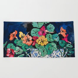 Nasturtium Bouquet in Chinoiserie Bowl on Dark Blue Floral Still Life Painting Beach Towel