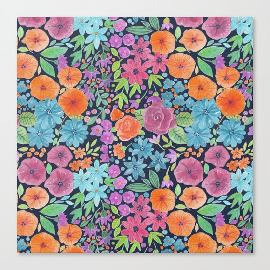 Floral watercolor pattern Canvas Print