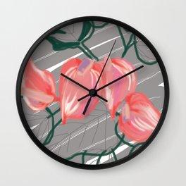 Digital Tropical Flowers Wall Clock