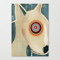 bull terrier Canvas Prints featuring bull terrier days by bri.buckley