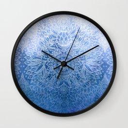 Enchanted Indigo - watercolor + doodle Wall Clock