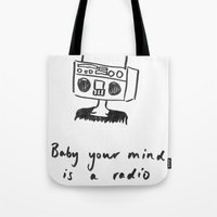 radiohead Tote Bags featuring Radiohead by sharon