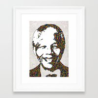 mandela Framed Art Prints featuring Mandela by Fimbis