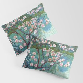 Springtime Pink Magnolias by the Kettle Pond landscape by Wilhelm List Pillow Sham