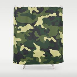 Army Green Camouflage Camo Pattern Shower Curtain