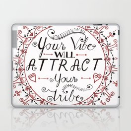 'Your Vibe Will Attract Your Tribe' Quote Mandala Red Laptop & iPad Skin