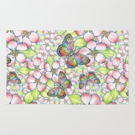 Rainbow Butterfly Blossoms Rug