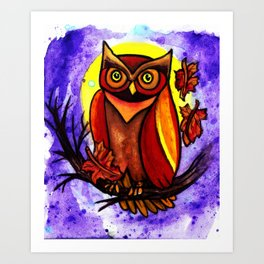 Owl of a fall night Art Print