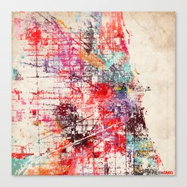 Chicago map painting Canvas Print