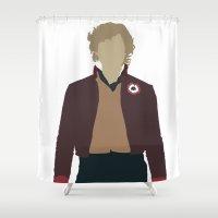 les miserables Shower Curtains featuring Enjolras - Aaron Tveit - Les Miserables Minimalist design by Hrern1313