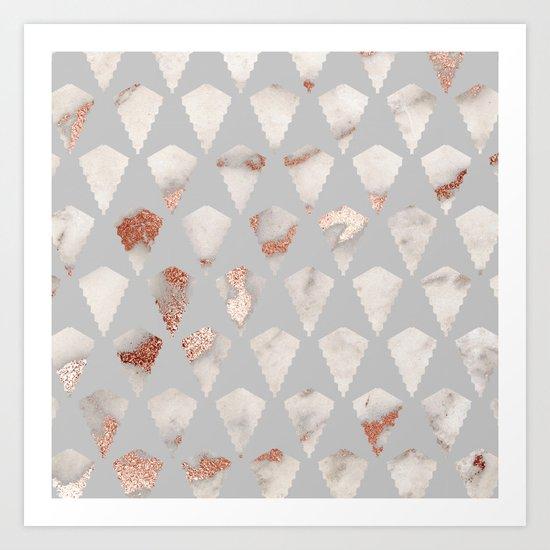 Rose gold marble pattern Art Print