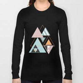 Colorful Modern Geometric Angular Pattern Block T-Shirts Long Sleeve T-shirt