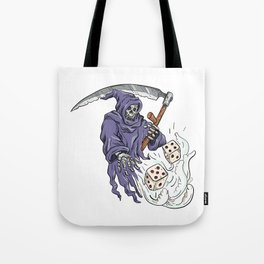 Grim Reaper Throwing the Dice Drawing Color Tote Bag