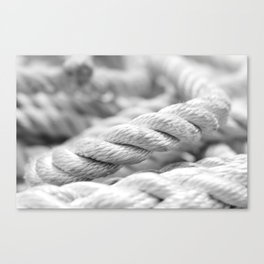Ropes black and white macro Canvas Print