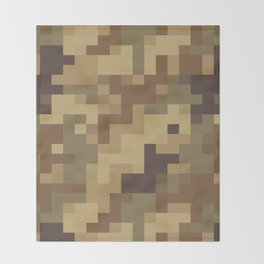 Army Camouflage Pixelated Pattern Brown Dirt Desert Throw Blanket
