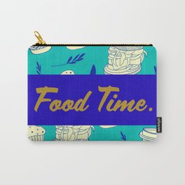 Blue Food Time Pattern Carry-All Pouch