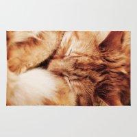 garfield Area & Throw Rugs featuring Garfield Sleeps by Rachel's Pet Portraits