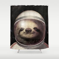 sloth Shower Curtains featuring Space Sloth  by Eric Fan