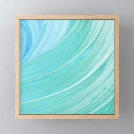Jade Ocean Waves in Watercolor Framed Mini Art Print