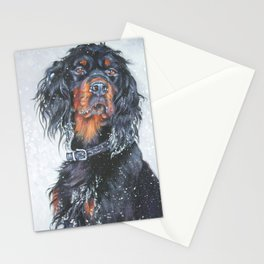 Gordon Setter dog art in snow from an original painting by L.A.Shepard Stationery Cards