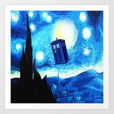 Starry Night Blue Phone Box Art Print