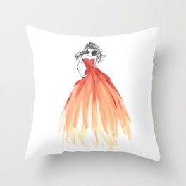 Coral ombre fashion illustration Throw Pillow