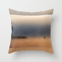 Fisher in foggy morning Throw Pillow