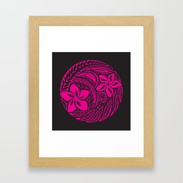 Polynesian Pink and Black Floral Tattoo Framed Art Print