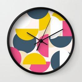 Pink Modern Geometric Pattern Wall Clock