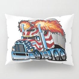 Patriotic American Flag Semi Truck Tractor Trailer Big Rig Cartoon Pillow Sham