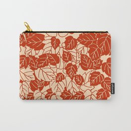 Japanese Leaf Print, Mandarin Orange Carry-All Pouch