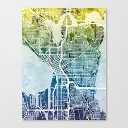 Seattle Washington Street Map Canvas Print