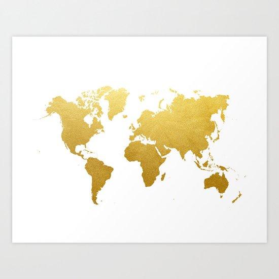 Faux Gold Foil World Map Print Gold Art Print Interior Design Wall Art Pop Art The Globe USA Europe  by cocoandjames